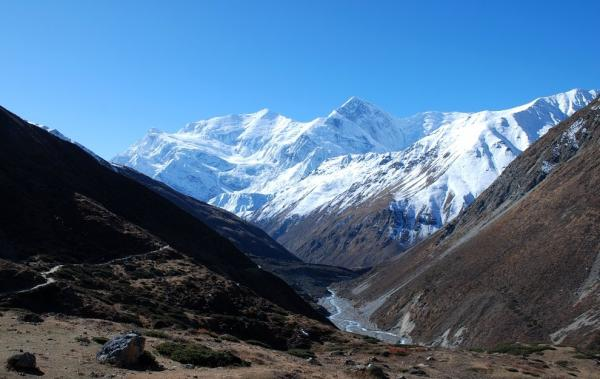 Snowy peaks of Annapurna III and Gangapu