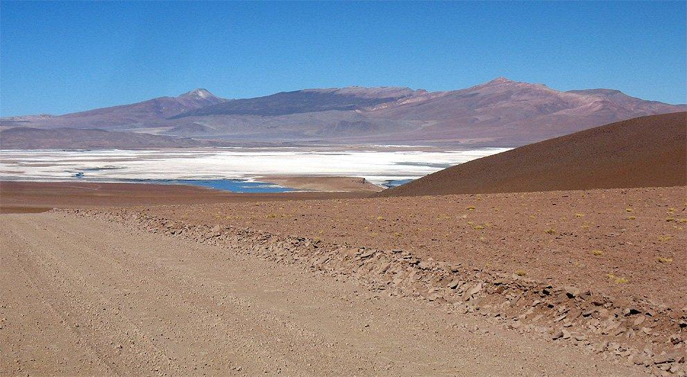 View of the lagoon and salar Chalviri