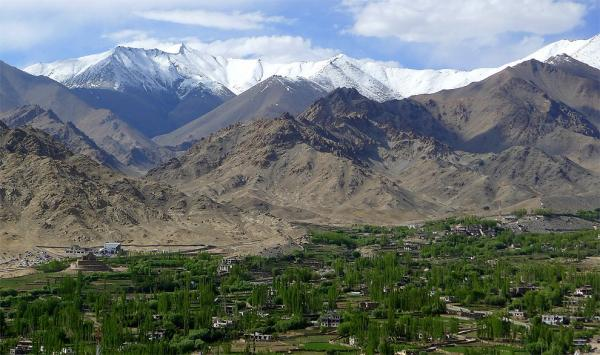 Ladakh mountains and Changspa oasis