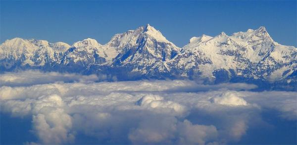 Aerial view of the massif Manaslu